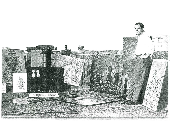"""1956. Piero Manzoni  espone alcune sue opere, in primo piano """"Buone Azioni"""", Collezione Giuseppe Zecchillo pubblicato su Piero Manzoni ed. SKIRA di Germano Celant pag.18 cat. 43"""