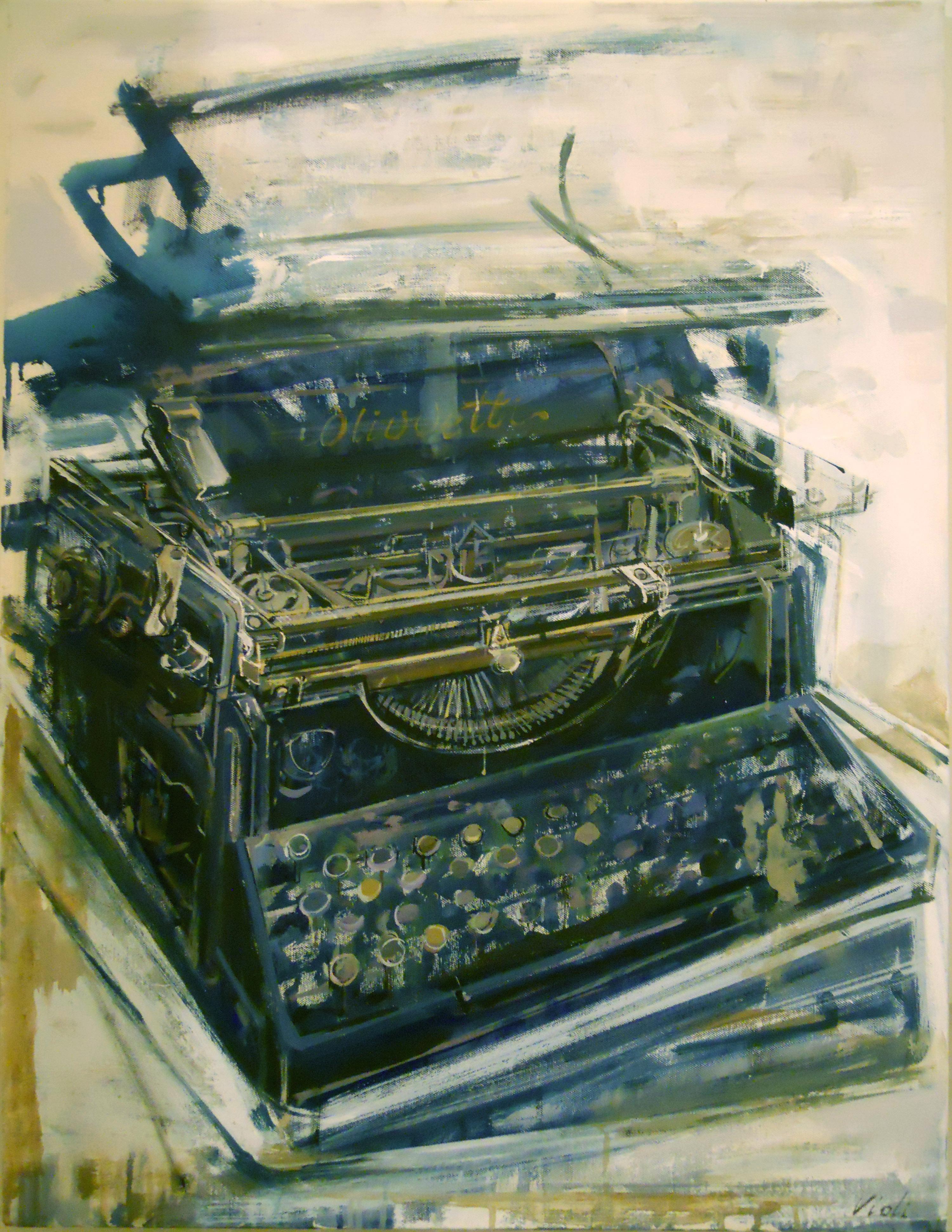 Carmelo Violi Macchina per scrivere 2015, acrilico su tela cm 90x65