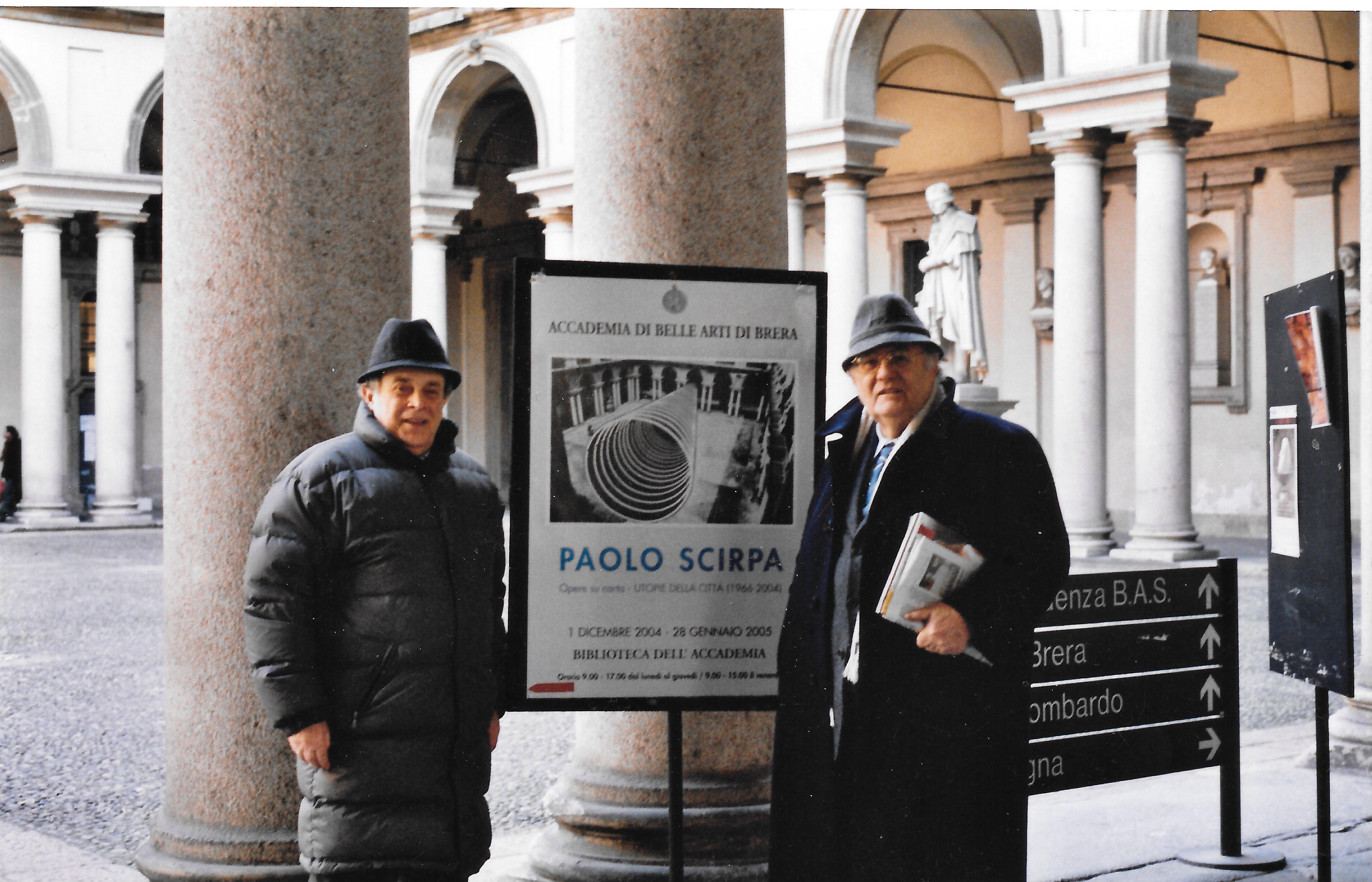 Paolo Scirpa e Giuseppe Zecchillo_Cortile Accademia Brera, 2005