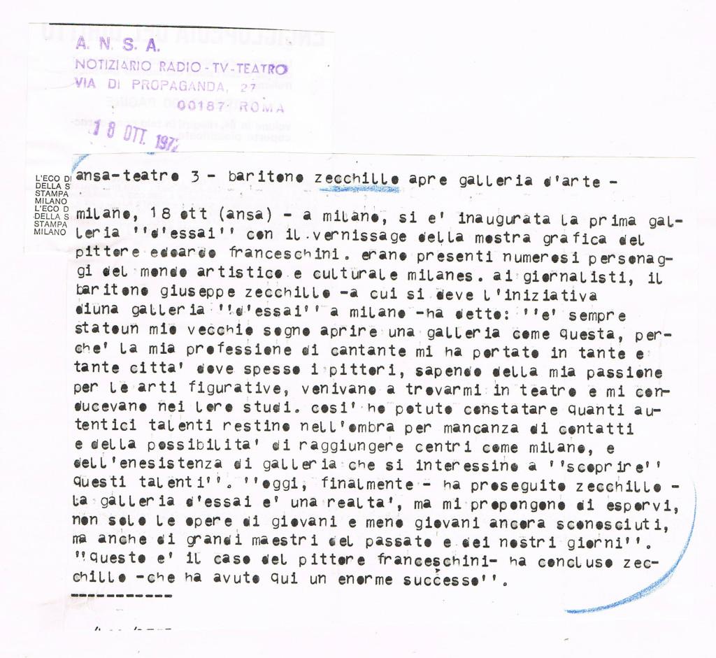 Comunicato ANSA inaugurazione Galleria d'essai Zecchillo 18/10/1972