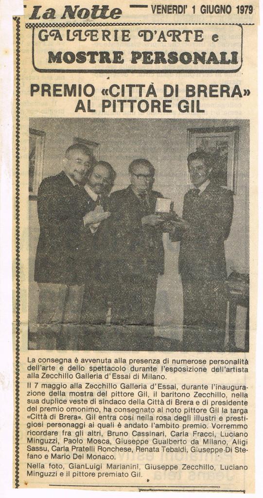 """Luciano Minguzzi consegna il premio """"Città di Brera"""", Giugno 1979"""