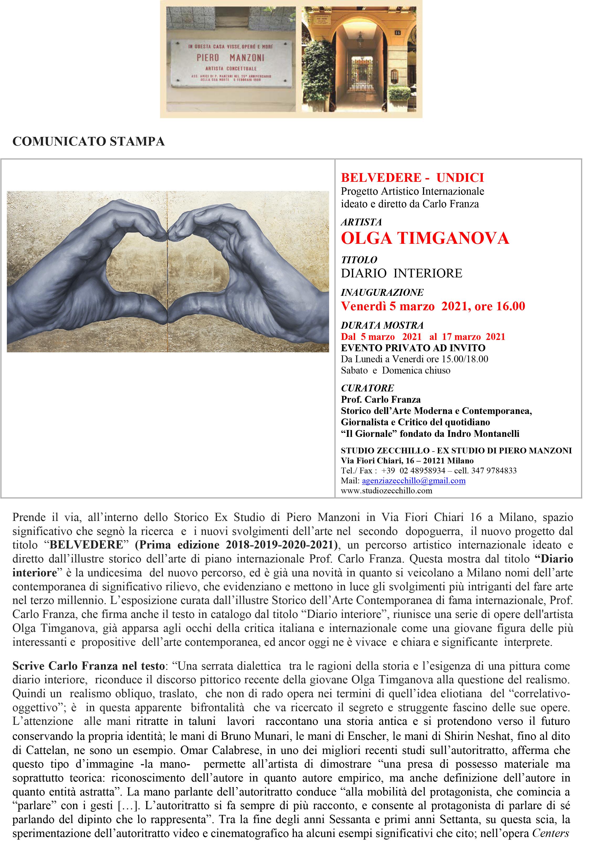 COMUNICATO STAMPA MOSTRA OLGA TIMGANOVA Ex Studio Piero Manzoni 2021-1