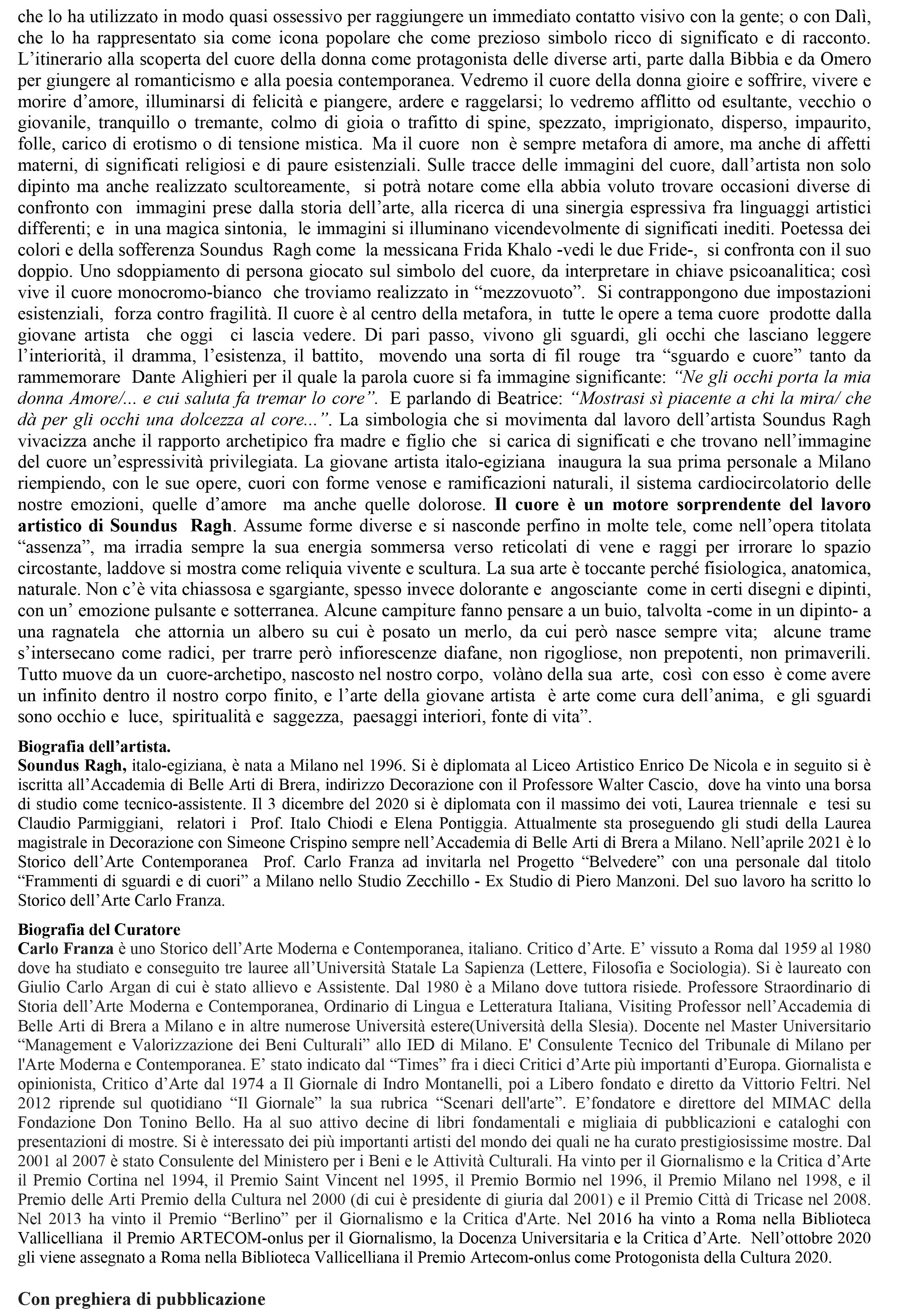 COMUNICATO STAMPA MOSTRA SOUNDUS RAGH, Ex Studio Piero Manzoni aprile 2021-2